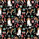 Beagle dog pattern winter christmas holiday cute gifts for dog lover dog breeds by PetFriendly  by PetFriendly
