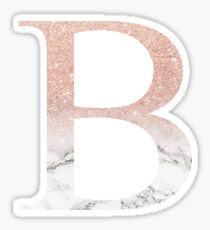 Rose Gold Glitter and Marble Beta B Sticker