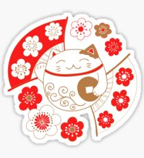 Maneki neko cat - mascot, the bringer of wealth and good fortune Sticker