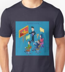 Business Meeting. Team Working. Man with Tablet. Work Planning. Office Life. Training Course. Isometric Concept T-Shirt