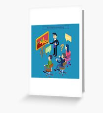 Business Meeting. Team Working. Man with Tablet. Work Planning. Office Life. Training Course. Isometric Concept Greeting Card