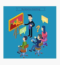 Business Meeting. Team Working. Man with Tablet. Work Planning. Office Life. Training Course. Isometric Concept Photographic Print