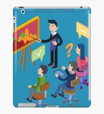 Business Meeting. Team Working. Man with Tablet. Work Planning. Office Life. Training Course. Isometric Concept iPad Case/Skin