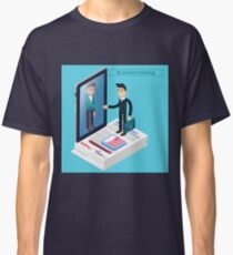 Business Meeting. Man with Suitcase. Business Man. Success in Business. Agreement Signing. Successful Negotiations. Isometric Concept Classic T-Shirt