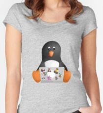 Penguin on a Computer Women's Fitted Scoop T-Shirt