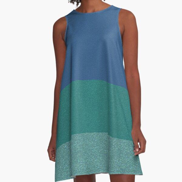 Blue Colors Glitter Texture Pattern A-Line Dress