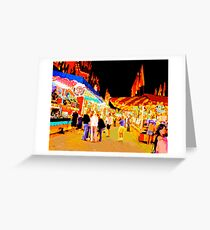Carnival Midway at Night with Girls Talking Greeting Card