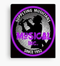 Music Store Retro Logo Saxophone Player Graphic Canvas Print