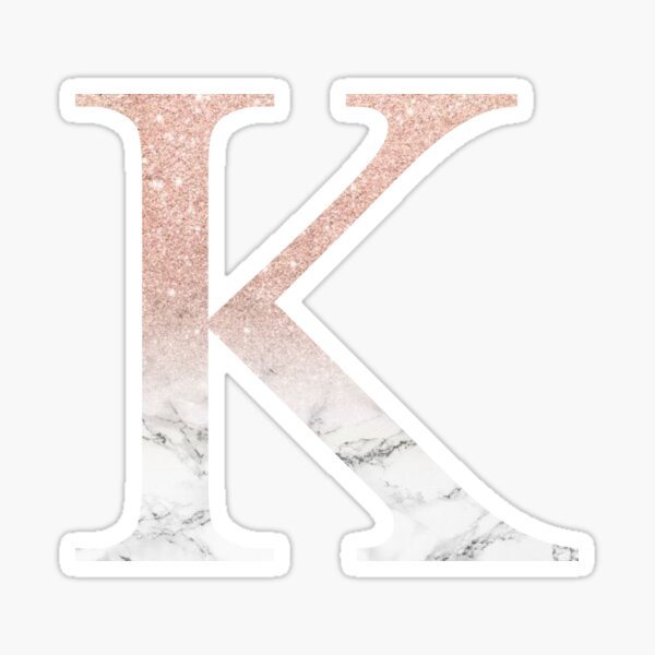 Rose Gold Glitter and Marble Kappa K Sticker