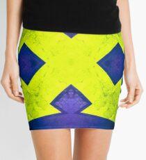 Yellow arrows on blue background Mini Skirt
