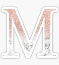 Rose Gold Glitter and Marble Mu M Sticker
