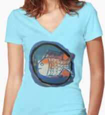 Blue and Orange Fish Women's Fitted V-Neck T-Shirt