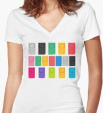 Colourful Gameboys (white) Women's Fitted V-Neck T-Shirt