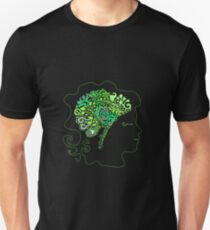 Silhouette of the human head, the design of the brain in the form of foliage and branches Unisex T-Shirt