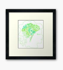 Silhouette of the human head, the design of the brain in the form of foliage and branches Framed Print