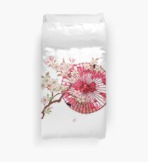 PARASOLS AND CHERRY BLOSSOMS Duvet Cover