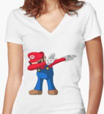 Dabbing super mario Women's Fitted V-Neck T-Shirt