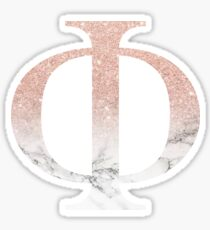 Rose Gold Glitter and Marble Phi Sticker
