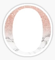 Rose Gold Glitter and Marble Omicron O Sticker