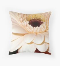 Peach gerbera macro Throw Pillow