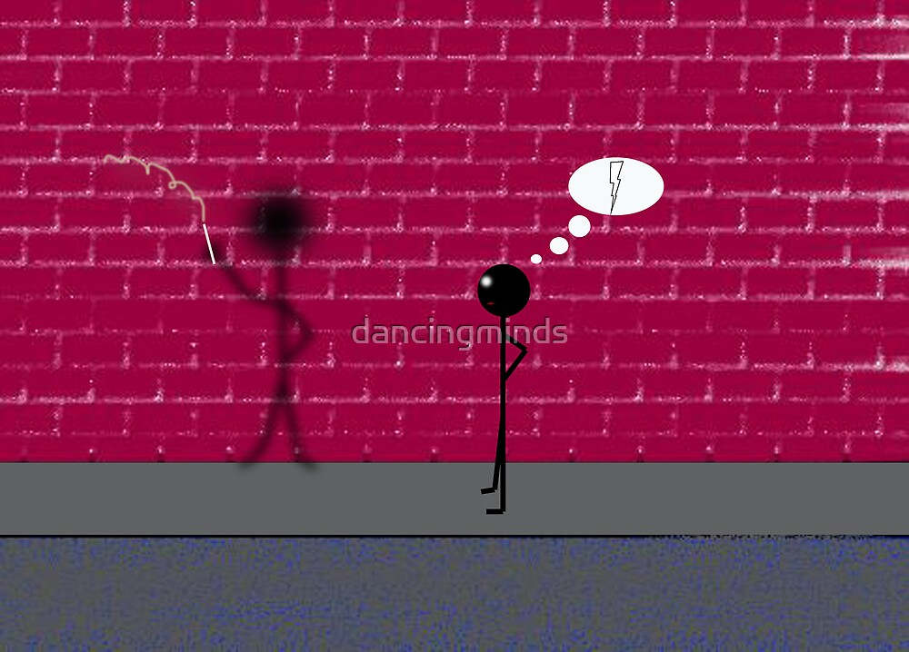 stick-man & his individual shadow by dancingminds