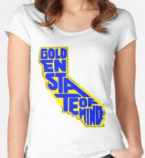 Golden State of Mind Yellow/Blue Women's Fitted Scoop T-Shirt
