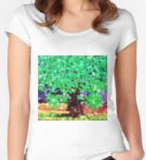 Fantasy oak tree with ravens Women's Fitted Scoop T-Shirt