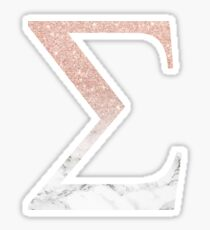 Rose Gold Glitter and Marble Sigma Sticker