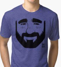 ADAM LIKES BEARDS - BLACK LINEART Tri-blend T-Shirt