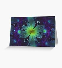 Blue and Green Fractal Flower of a Stargazer Lily Greeting Card
