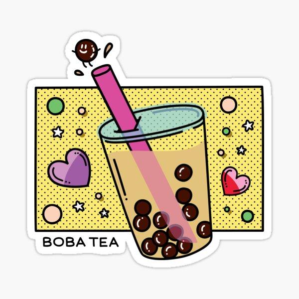 Cute Laptop Stickers Stickers for Water Bottle Stickers Boba Tea Cat Vinyl Sticker Bubble Tea Decal Watercolor Aesthetic Sticker