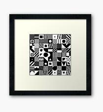 Black And White Cube Pattern Framed Print