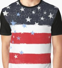 Patriotic Grunge Stars and Stripes Graphic T-Shirt