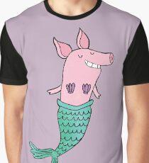 Mermaid Pig - Purple  Graphic T-Shirt