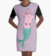 Mermaid Pig - Purple  Graphic T-Shirt Dress