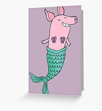 Mermaid Pig - Purple  Greeting Card