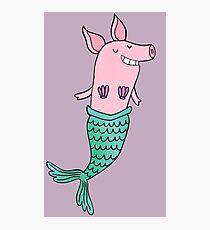 Mermaid Pig - Purple  Photographic Print