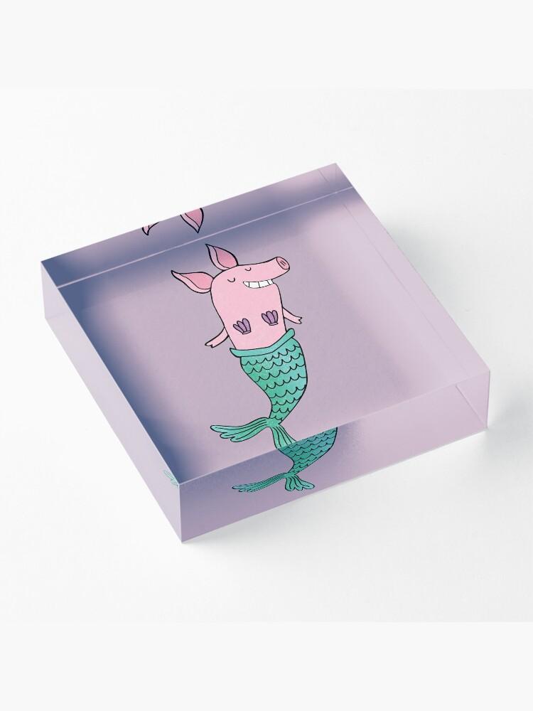 Alternate view of Mermaid Pig - Purple  Acrylic Block