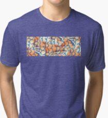 Orange and Blue Fish Scale Design Tri-blend T-Shirt