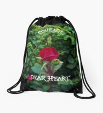 Courage, dear heart, C.S. Lewis quote in rosebud garden setting Drawstring Bag