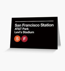 San Francisco Pro Sports Venues Subway Sign  Greeting Card