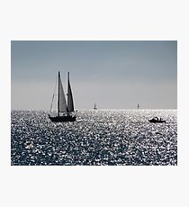 Fishing at Semaphore in low Winter Sunlight. South Australia. Photographic Print