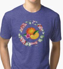Peach and Flower Tri-blend T-Shirt