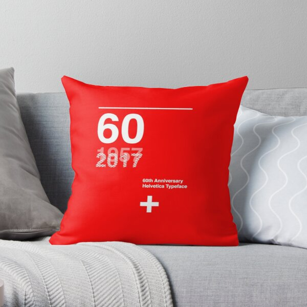 60th Anniversary  Helvetica Typeface Throw Pillow