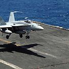 Eine F / A-18C Hornet landet auf dem Flugzeugträger USS Ronald Reagan. von StocktrekImages