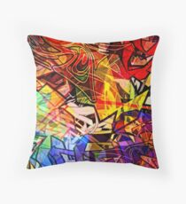 Stained Glass Graffiti Throw Pillow