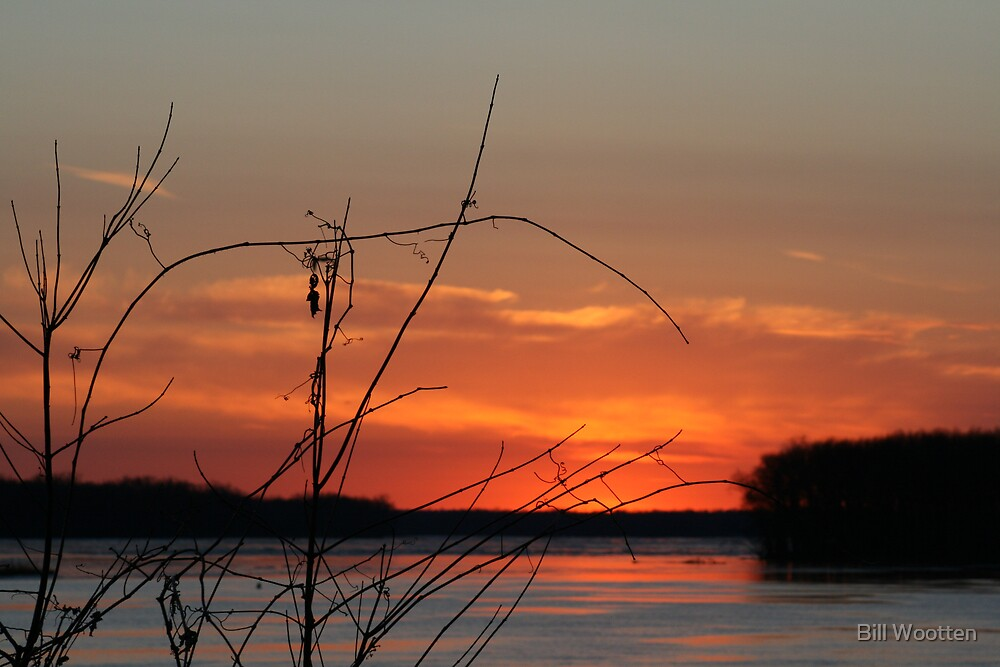 Sunset over the Mississippi River by Bill Wootten