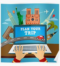 Plan your Trip. Travel Banner. Time to Travel. Vacation Planning. Travel Industry. Modern Travel Technologies. Booking Hotel Poster