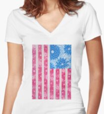 Watercolor Boho Vintage American Flag Women's Fitted V-Neck T-Shirt
