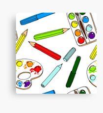 Pencils, paint,  brush and palette pattern Canvas Print